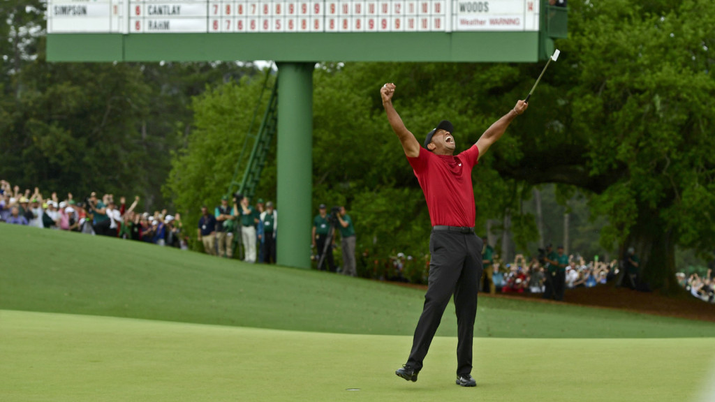 Masters champion Tiger Woods celebrate safter Tiger made his putt on hole No. 18 to win the Masters during the final round of the Masters at Augusta National Golf Club, Sunday, April 14, 2019.