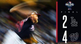다저스, '슈어저 8회 등판' 워싱턴에 2-4 패배