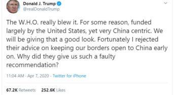 """트럼프 """"WHO, 미국 돈 받고 중국 편만 든다"""""""