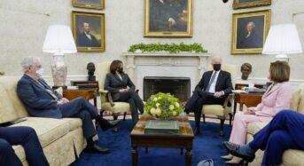 바이든, 여야대표 첫 회동…4조달러 법안 협조 총력