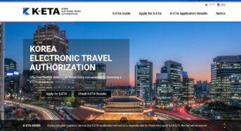 한국 무비자 입국 위한 ETA 홈페이지 오픈