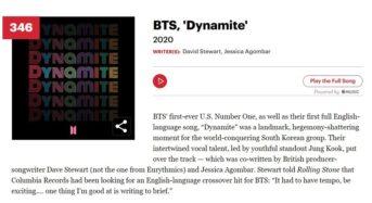 BTS '다이너마이트', 롤링스톤 '위대한 노래 500곡' 올라